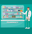 modern interior pharmacy and male pharmacist vector image vector image