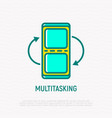 multitasking on smartphone screen thin line icon vector image