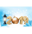 new year background with a 2019 and ball vector image