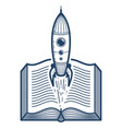 open book with launching rocket linear icon vector image vector image