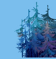 part cartoonish forest of trees in shades of blue vector image vector image