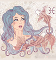 Pisces as a portrait of beautiful girl vector image vector image