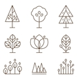 plants and trees icons set linear style vector image vector image