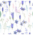 seamless pattern with spring blue flowers endless vector image