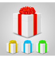 set of gift boxes with colorful ribbons vector image vector image
