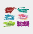 sign set in brush stile we are open againwelcome vector image