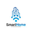 smart city tech logo city net logo concept wifi vector image
