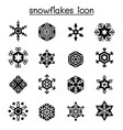 snowflakes icon set in flat style vector image vector image