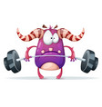 sport monster characters barbell vector image
