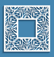square frame with cutout paper border pattern vector image vector image