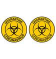 stamp quarantine coronavirus with hazard sign vector image