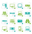 stylized hi-tech equipment icons vector image vector image