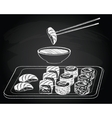 Sushi vintage on the chalkboard background vector image vector image