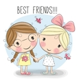 Two Cute cartoon girls vector image