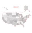 united states of america map in grey vector image