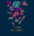 violet and blue xmas gift box vector image vector image