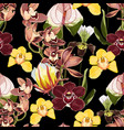 watercolor style orchid flowers seamless pattern vector image vector image