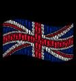 waving british flag mosaic of boot footprints vector image
