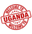 welcome to uganda red round vintage stamp vector image vector image