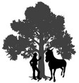 young woman standing with horse under oak tree vector image vector image