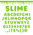 green slime alphabet vector image