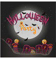 halloween background with crosses night pumpkins vector image
