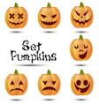 halloween set pumpkins emotions icon design cute vector image