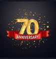 70 years anniversary logo template on dark vector image