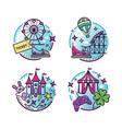 amusement park outline icons vector image vector image
