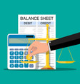 balance sheet with calculator coin scales vector image