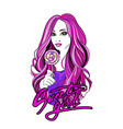 beautiful young girl with shiny pink wavy hair vector image