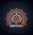 beer neon banner craft beer neon sign on wall vector image vector image