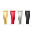 blank mock up gold red silver and black tube for vector image