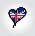 british flag heart-shaped hand drawn logo vector image