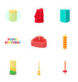 candle icons set cartoon style vector image vector image