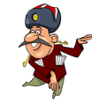 cartoon Caucasian man with a mustache dancing vector image