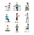 cartoon characters people male and female reading vector image