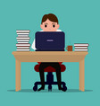 cartoon diligent office worker at the table vector image vector image