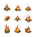 cartoon fire wood and campfire set vector image vector image