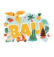 cartoon with bali landmarks symbols vector image