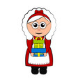 christmas mrs claus character holding a present vector image vector image