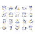 coffee and tea line icons teapot coffeepot vector image vector image
