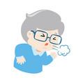 coughing grandpa cartoon vector image vector image