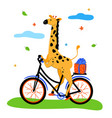 cute giraffe cycling - modern flat design style vector image