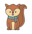 cute squirrel with scarf autumn on white vector image