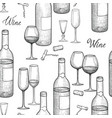 drink wine seamless engrave pattern wine glass vector image vector image
