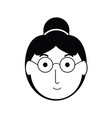 elderly woman face icon vector image