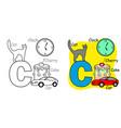 english alphabet coloring book c vector image vector image