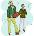 fast fashion sketch with stylish girls in jackets vector image
