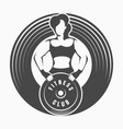 fitness emblem with woman holding barbell weight vector image vector image